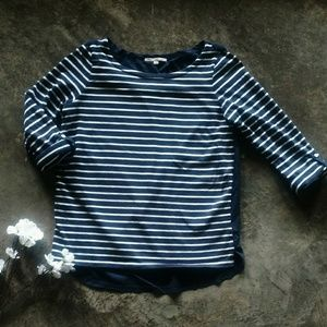 GAP Navy & White Stripe Wide Neck Top M